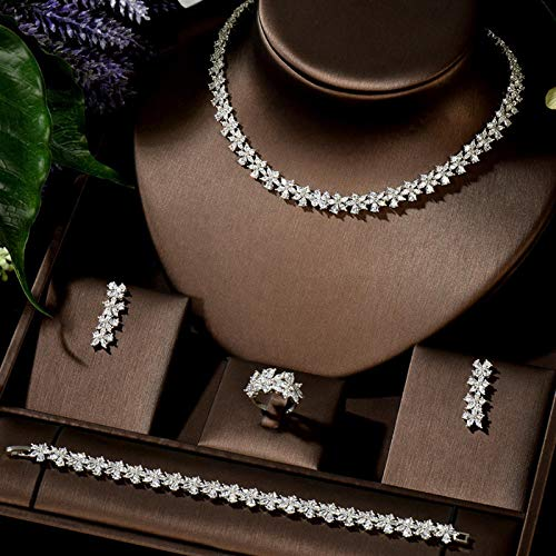 Zyuan Luxury 4pcs Bridal Zirconia Necklace Earrings Rings For Women Party Luxury Wedding Jewelry Sets ShanDD (Color : White color)
