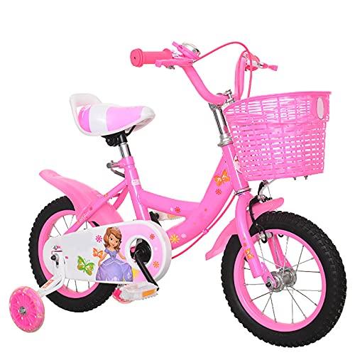CKCL Bicicleta para Niños para Niños Niñas De 3 a 9 Años 12 14 16 18 Pulgadas Ruedas De Entrenamiento Soporte con Guardabarros Freno De Mano Y Cesta,Rosado,18inches