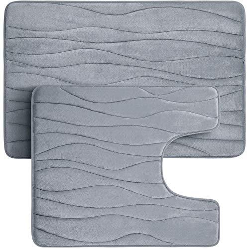 Esteras de baño de espuma viscoelástica antideslizantes para pedestal y inodoro en forma de U, color gris
