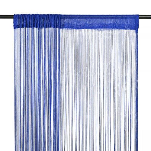 vidaXL Cortina de Flecos para Puerta 2 Piezas 100x250 cm Tela Azul Estor Hilos