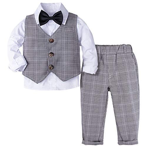 mintgreen Smoking Niño Conjunto Traje Gentleman Camisa Bebé Manga Larga Chaleco Pajarita, 3-4 años Gris (Tamaño del Fabricante: 110)