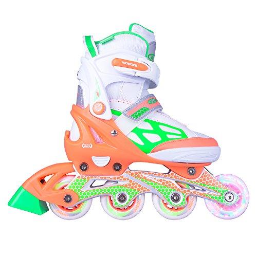 WORKER Inline-Skates Nubila Inliner Rollschuhe mit leuchtenden Rollen Gr. verstellbar (orange-grün, S 33-36)