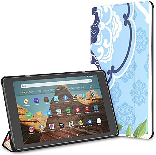 Custodia per tablet Chinese Lady Fire Hd 10 blu e bianco (9a settima generazione, versione 2019 2017) Custodia Kindle Fire HD 10 Custodia per Kindle Fire HD 10 Auto Wake Sleep per tablet da 10,1 poll