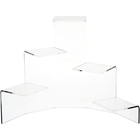 Plymor Clear Acrylic 7-Item Mini Display Stairs 8.125 H x 28 W x 9 D for 1 Upper Step is 8 W x 4 D, for 6 Lower Steps is 4 W x 3 D