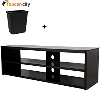 Toucan City 7 Gal Trash can and AVF Black Entertainement Center FS1400MUR-A