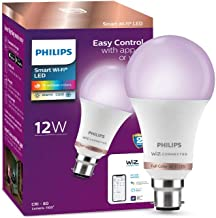 Philips Smart Wi-Fi LED Bulb B22 12-Watt WiZ Connected (16 Million Colors + Warm White/Neutral White/White + Dimmable + Pre-Set Modes) (Compatible with Amazon Alexa and Google Assistant)