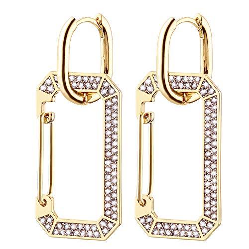 Orecchino a cerchio rettangolare Huggie da donna, orecchini pendenti ipoallergenici placcati in oro rosa e argento con cristalli di zirconi (Cristallo bianco, Placcato oro)