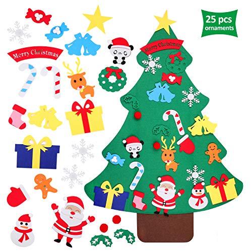 EKKONG Filz Weihnachtsbaum Set DIY Weihnachtsbaum mit 25 Stück Christmas Wandbehang Deko für Kinder Weihnachts Geschenk Und Hauptdekoration