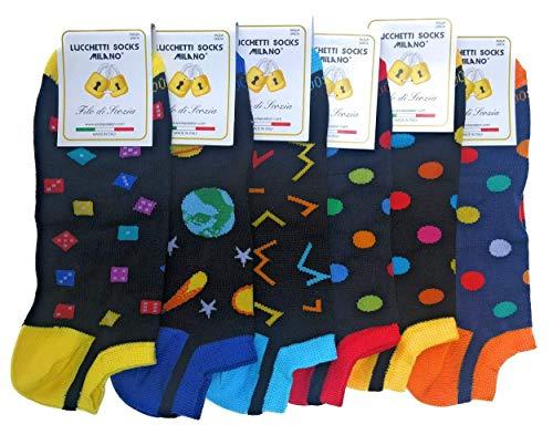 Lucchetti Socks Milano 6 PAIA fantasmini uomo cotone colorati fantasia filo di scozia pois disegni calzini corti alla caviglia made in Italy (Set Summer is magic)