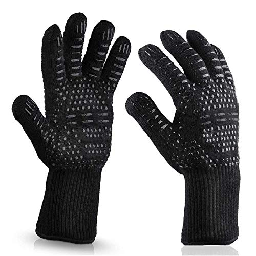 Wetest Premium 1 Pair Extreme Heat Resistant oven Gloves for Cooking Gloves for Bbq Grilling Baking Black