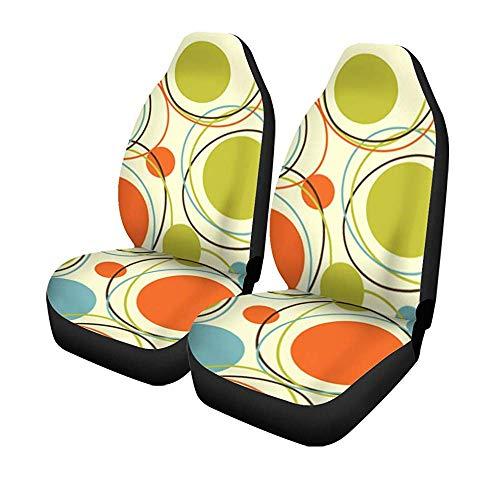 Beth-D set met 2 stoelhoezen voor de auto, kleurrijke jaren 50 retro, abstract motief in het midden van de stoel van de jaren 60 (jaren '60), universeel, voor autostoelen en voorstoelen, bescherming tegen voorstoelen, 14 - 17 inch
