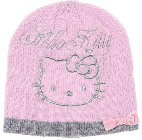 Hello kitty-Bonnet noeud velours enfant fille ref 4338 rose 5/8ans