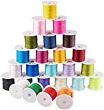 PH PandaHall 25 Colors 0.8mm Nylon Chinese Knotting Cord Nylon Beading String Knotting Cord Kumihimo Macrame Thread Cord, 250yards Totally