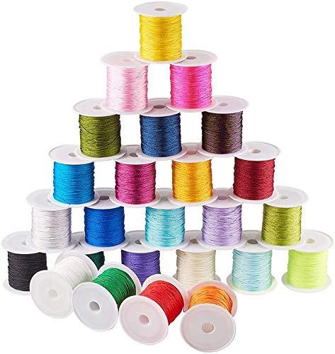 PH PandaHall 25 Colors 0.8mm Nylon Chinese Knotting Cord Nylon Beading String Knotting Cord Shamballa Macrame Thread Cord, 250yards Totally