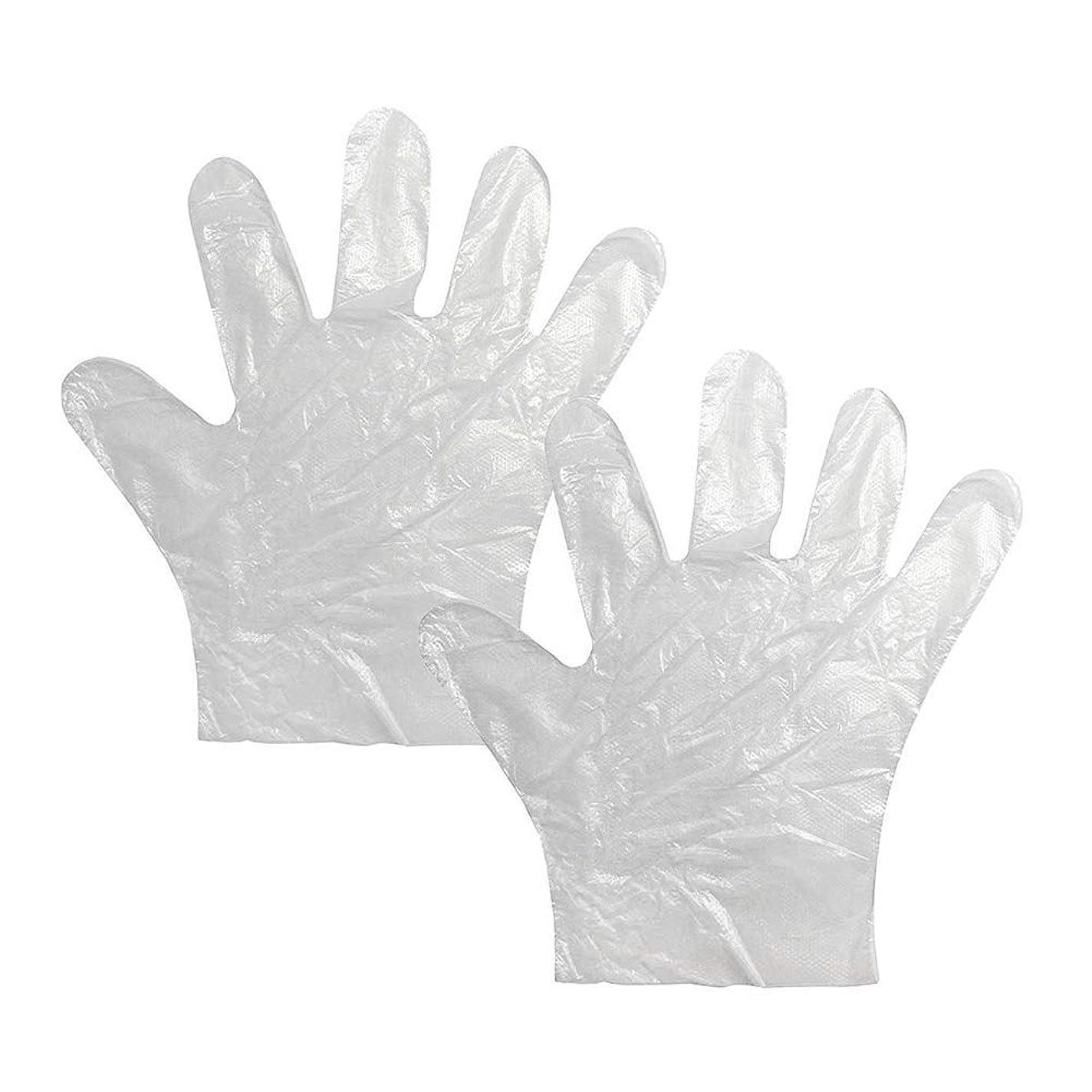 海外トレッド真実使い捨て手袋 極薄ビニール手袋 耐久性が強い上に軽く高品質 透明100枚*2セット