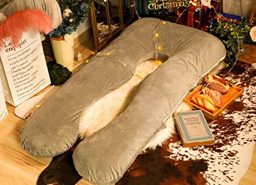 Meiz Pregnancy Pillow, U Shaped Pregnancy Body Pillow with Zipper Removable Cover (Gray- Velvet)
