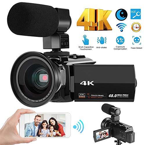 Aynefy Camcorder, 4 K HD, videocamera, 48 MP, full HD 1080p, wifi, infrarood-nachtzicht, 16 x digitale zoom, videocamcorder met externe microfoon, groothoek, led-videoverlichting en camera