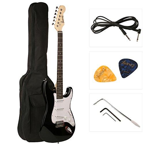 Juarez JRZ-ST01 6-String Electric Guitar, Right Handed, Black, with Case/Bag and Picks