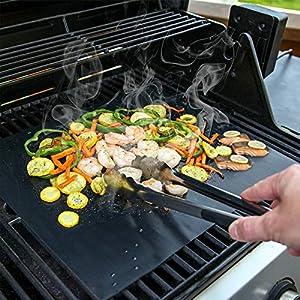 SPGOOD BBQ Grillmatte 50X40CM 4er Set FDA Teflon Grillmatten gasgrill 100% Antihaft PFOA-Frei für bis 260°C/500℉