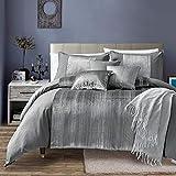 Living Quarters 7 Piece Nara Oversized Luxury Bed in Bag Microfiber Comforter Set Cal King, King King, Silver