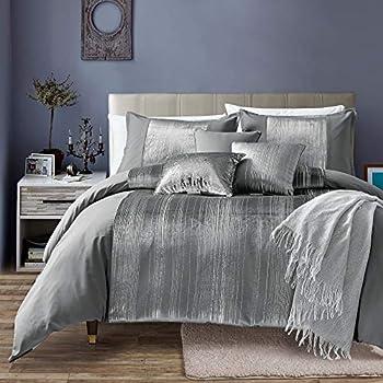 Living Quarters 7 Piece Nara Oversized Luxury Bed in Bag Microfiber Comforter Set  Queen  Silver