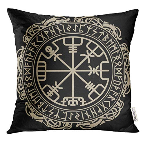 VANMI Throw Pillow Cover Black Design Magical Runic Compass in The Circle of Dragons Tattoo Decorative Pillow Case Home Decor Square 16x16 Inches Pillowcase