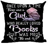 Mesllings - Funda de cojín con Texto en inglés Once Upon A Time There Was A Girl Who Really Loved Books (45 x 45 cm), diseño Cuadrado, Color Morado