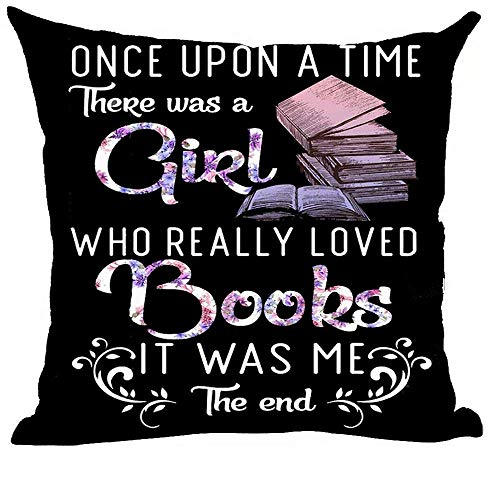 LREFON Doble Cojines Fundas 18' Cita de Arte de Palabra púrpura Érase una Vez una Chica Que Realmente amaba los Libros Funda Almohada Suave