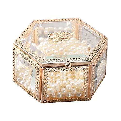 YUXO Sieradendoos voor Vrouwen Jewelry Boxes Gouden Retro Glas Sieraden Borst Met Cover Crown European Style Transparant opslag for Ketting Ring Earring Cadeau voor Meisje