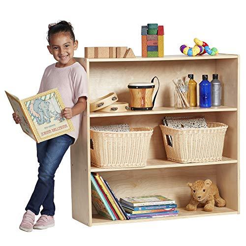 """ECR4Kids Birch Streamline 3-Shelf Storage Cabinet with Back, Wood Book Shelf Organizer/Toy Storage for Kids, 36"""" Tall - Natural"""