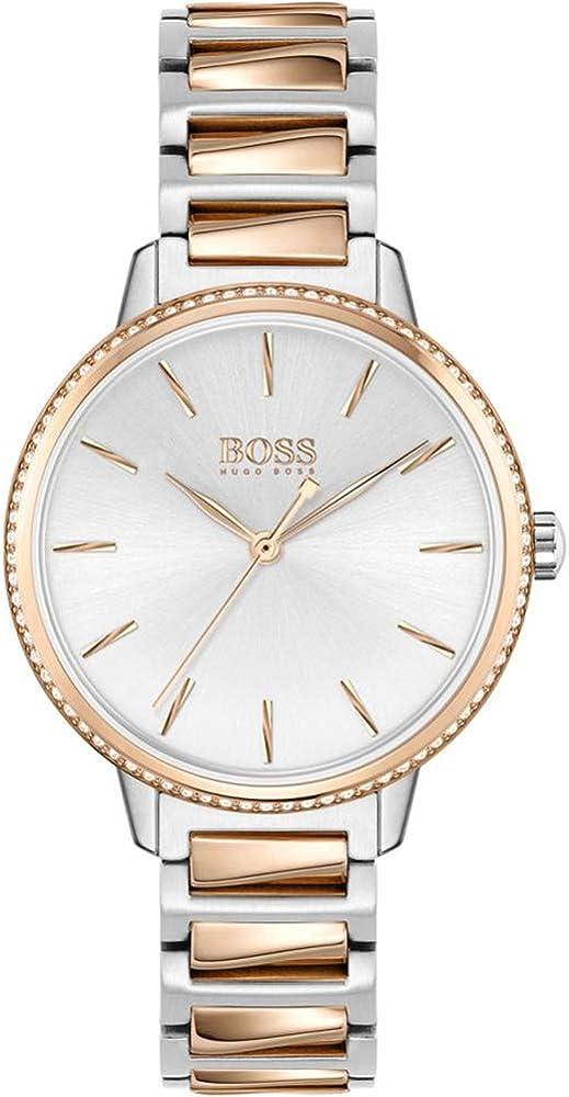 hugo boss, orologio analogico quarzo donna  in acciaio inossidabile bicolore 1502567