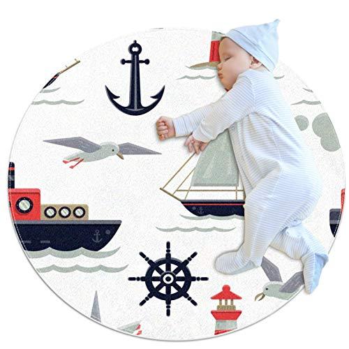 Alfombra Redonda Barcos de Ancla Gaviota Alfombra Redonda decoración Arte Antideslizante niños Lavables a máquin Suave Sala Estar Dormitorio de Juegos para 70x70cm