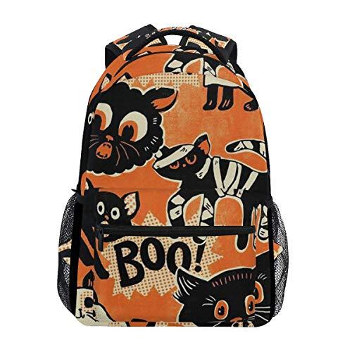 Casual Printed Backpack,Black Cat Halloween College School Book Bag Hunting Children Backpacks 40cm(H) x29cm(W)