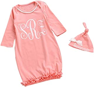 Dreamyth Newborn Infant Kids Baby Girl Long Sleeve Pajamas Gown+Hat Outfits Clothes Set