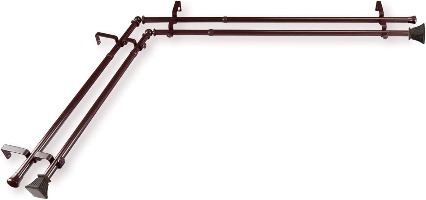 Rod Desyne Trumpet Cocoa 28-48 Inches Corner Window Double Curta
