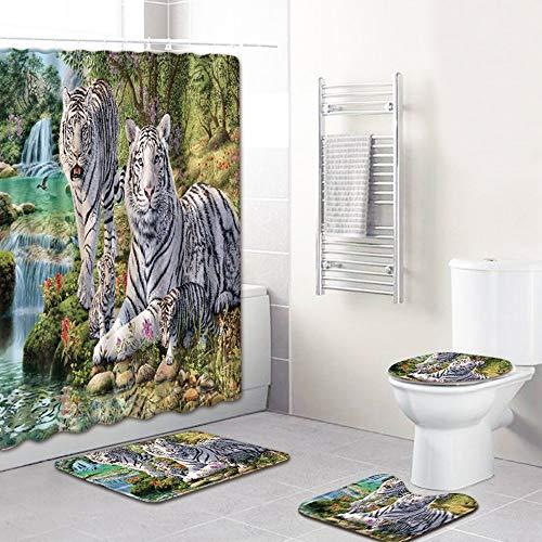 ETH Tiger Familie Ontwerp Douche Gordijn Vloer Mat Badkamer Toiletbril Vierdelige Tapijt Waterabsorptie Niet vervagen Veelzijdige Comfortabele Badkamer Mat Kan Machine Wassen duurzaam