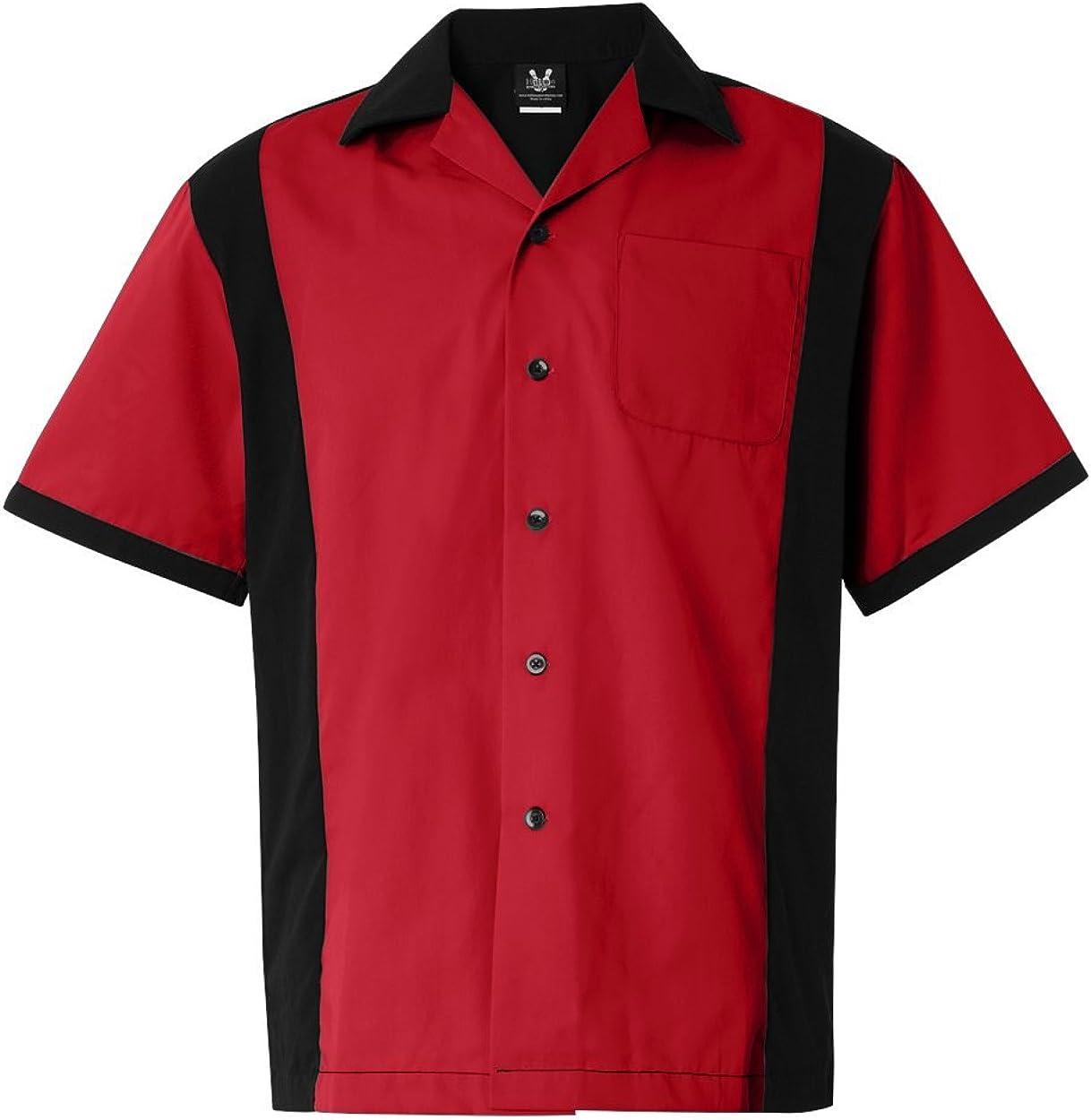 Hilton Men's HP2243 Cruiser Revere Collar Button Down 2-Tone Bowling Shirt