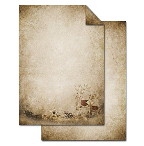 50 Blatt Weihnachts-Briefpapier beige RENTIER HIRSCH VINTAGE einseitig bedruckt 100g Weihnachts-Papier DIN A4 Brief-Bogen marmoriert vintage natur gold braun alt