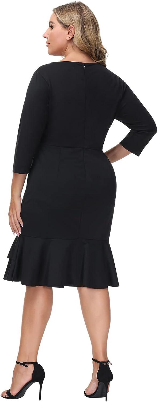 Hanna Nikole Womens Cocktail Dress Plus Size Party Elegant Business 3/4 Sleeve Pencil Fishtail Dress