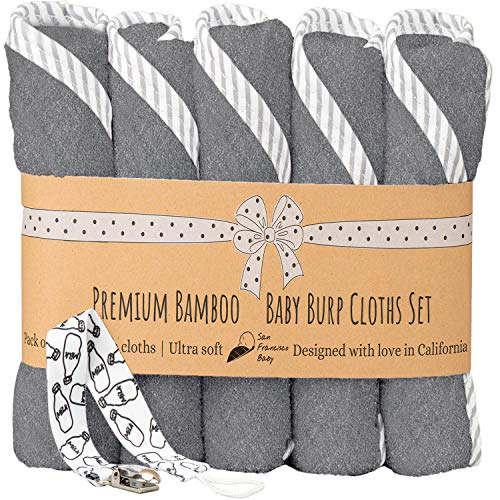 """Burp Cloths Unisex 5 Pack Bamboo and Cotton w/Pacifier Clip - Ultra Soft, Comfortable Fabric - Extra Absorbent Burping Bib for Spit-Ups and Spills - 19 x 9"""" Baby Burp Cloths Gray"""