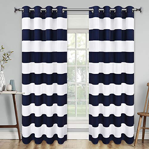 VERTKREA Stripe Window Curtain Striped Room Window Treatment Grommet Curtains 52 × 63 Inches Stripes Drapes for Bedroom Living Room Blue Set of 2 Panels
