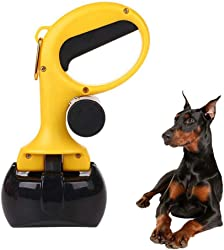 FXQIN Dog Poop Scooper, Animal Pet Dog Cat Pooper Scooper, Dog Sanitary Waste Pickup Scoop, Apply for Grass and Gravel, Yellow