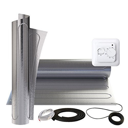 150W/m² Alu Heizmatte 1m² elektro Fußbodenheizung+ MST1 Thermostat Komplettset