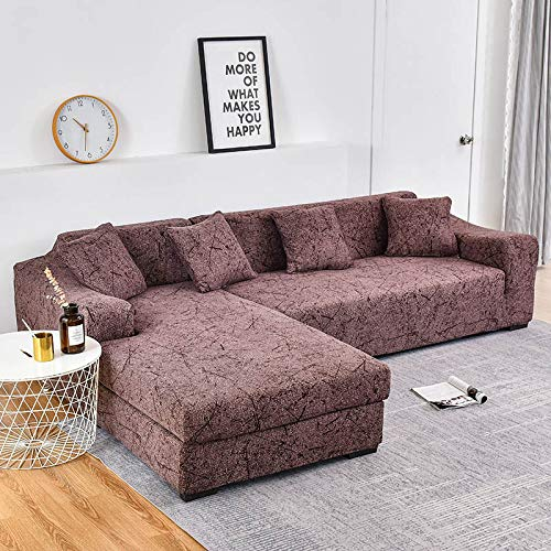 Fundas de sofá Chaise Longue Impresas en Forma de L para Sala de Estar Protector de sofá Fundas elásticas Antipolvo para sofá de Esquina A16 de 4 plazas