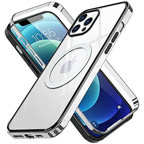 Funda Transparente para iPhone 12 Mini Carcasa Magnética y Ultrafina para mag Safe Accesorios,No Amarillea,Anti-Choques y ArañAzos Galvanizado Parachoque y Trasera Rígida para PC Cover - Argent