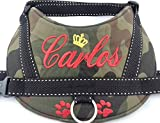Hundegeschirr S M L XL XXL Brustgeschirr mit Wunsch Namen bestickt Camouflage rot Tarnung Optik für kleine
