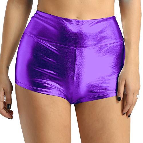Agoky Damen Shorts Metallic Hot Pants Leder-Optik hoch taillierte Bikini Minishorts Sport Fitness Tanz Badehose Glänzend Booty Panty Violett XXL