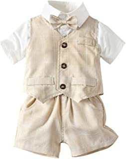 Angcoco Baby Boys Gentleman Short Sleeve Dress Shirt+Waistcoat+Trousers 3-Piece Outfits Set