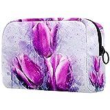 Neceser de Maquillaje Estuche Escolar para Cosméticos Bolsa de Aseo Grande Flores Tulip Arte Pintura Abstracta