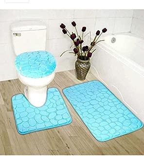 Elegant Home 3 Piece Solid Color Rock Embossed Memory Foam Bathroom Rug Set Bath Rug, Contour Mat, Lid Cover Non-Slip with Rubber Backing # New Rock (Light Blue)